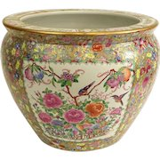 """Chinese Hand-Painted Famille Rose """"Goldfish Bowl"""" Jardiniere, So Beautiful and Colorful!"""