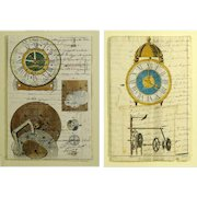 "Two (2) 19th Century Manuscripts Hand Decorated with Later Watercolor ""Clock Works"" (Each Framed)"