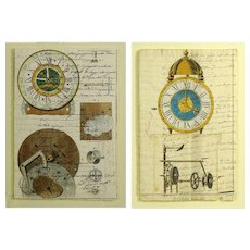 """Two (2) 19th Century Manuscripts Hand Decorated with Later Watercolor """"Clock Works"""" (Each Framed)"""