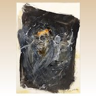 """Self Portrait""  Secessionist - Signed Mixed Media"