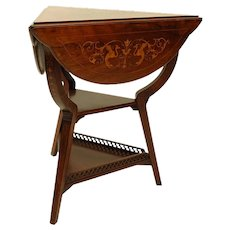 Antique Edwardian Inlaid Rosewood Handkerchief Table