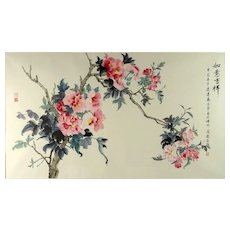 """""""Blossoms"""" -Very Large Signed Chinese Ink and Color Wash On Paper - Truly Exquisite!"""