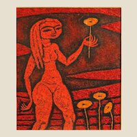 """WARO WAKAO (Japanese 20th Century)  """"Nude With Flower""""  Signed Oil on Canvas."""