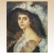 "Antique Original Pastel Portrait ""Woman In A Hat "" Signed ""A. S."""