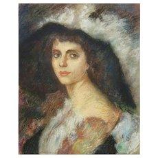 """Antique Original Pastel Portrait """"Woman In A Hat """" Signed """"A. S."""""""