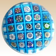 PARABELLE Outstanding Turquoise Chequer Paperweight, Signed/Dated Artist Proof 1994
