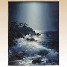 "ROSEMARY MINER, 20th Century - ""Cypress Point By Moonlight"" Signed Original Oil on Canvas"