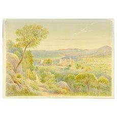 "LEESON ROWBOTHAM (British 20th Century) Original Signed Watercolor - ""Castle of Bormes, France"""
