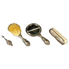 Art Nouveau Dressing Table Set, Three Pieces Silver Mounted, With Silver Lorgnette