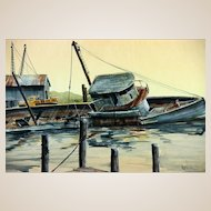 """""""Tugboat"""" -   Original Signed Watercolor"""
