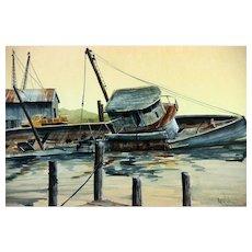 WPA Style Tugboat, Original Watercolor, Signed LIGHTHART.