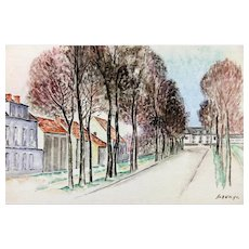 """LEOPOLD SURVAGE (Russian/French, 1879-1968) - """"Paris Street Scene"""" - Original Watercolor, Signed/Dated !919."""