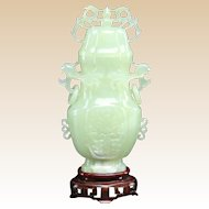 Chinese Jade Lidded Vase With Well-Carved Mythological Beasts in Relief