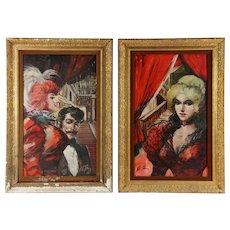 "PAIR Original Signed Large Oil Paintings - ""Casino Ladies Of Las Vegas"""