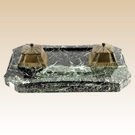 French Bronze Inkwells, Pair, on Green Marble Base.