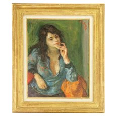 """ROBERT PHILIPP (American, 1895-1981), """"Pensive Girl,"""" Original Signed Oil On Canvas, Dated 1974."""