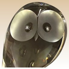 Steuben - Large Signed Crystal Owl, Designed by Donald Pollard c. 1950s