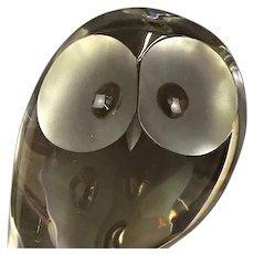 Steuben - Signed Crystal Owl, Designed by Donald Pollard c. 1950s