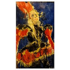 """RICHARD JERZY (American 1944 - 2001)  """"The Jester""""  Original Mixed Media And Conte Crayon, Very Nicely Framed"""