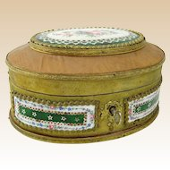 Antique French Cloth Covered Wood Trinket Box with Hand Painted Porcelain Plaques and Roses Inside. Key Included.