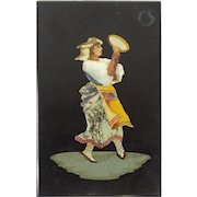 """PIETRA DURA """"Peasant Dancer"""" Lovely As A Paperweight Or To be Framed"""