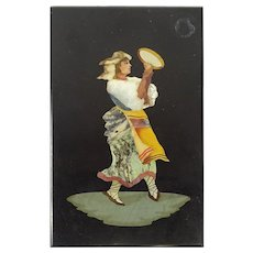 "PIETRA DURA ""Peasant Dancer"" Lovely As A Paperweight Or To be Framed"