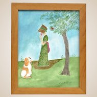 """EVELYN DUBIEL (b. 1922) -  """"Sandy And Rusty"""" - Original Signed Watercolor"""