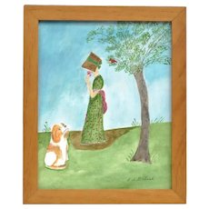 "EVELYN DUBIEL (b. 1922) -  ""Sandy And Rusty"" - Original Signed Watercolor"