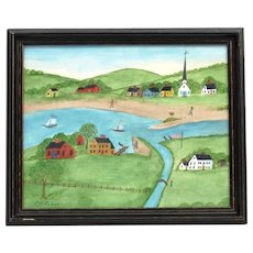 """EVELYN DUBIEL (b. 1922) -  """"The Outlet""""- Original Signed Watercolor"""