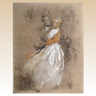 ANTOINE CALBET  (1860 - 1944) Original Signed Painting, Primarily Pastel Mixed Media