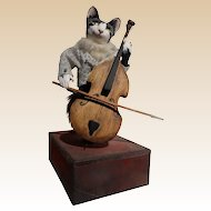 "L'Arbre a Pain Automaton ""Cat Playing Cello"" Music Box"