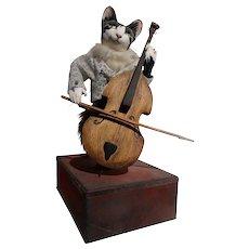"L'Arbre a Pain Automaton ""Cat Playing Cello"" Music Box"