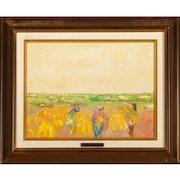 """POLA AIVAZIAN-ROSSI  (Swiss 1914 - 1967) - Original Signed Oil On Canvas """"Harvest In Yellow """""""