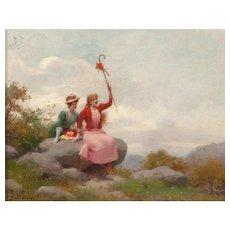 "JULES FREDERIC BALLAVOINE (French 1855 -1931) ""Elegantes A La Campagne"" Original Signed Oil On Canvas"