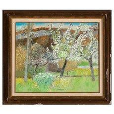 "GUY BARDONE (French b. 1927) - ""Le Pre Fleuri"" - Original Signed Oil On Canvas"