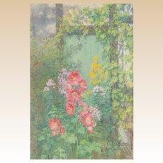 "EDWARD KINGTON BRICE (1860 - 1948) - Original Signed Impressionist Oil ""Flowers In The Garden"""