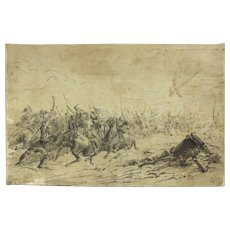 "RUSSIAN SCHOOL (19th Century) - Original 1895 Signed and Dated Ink On Paper ""Cossacks Fighting Turks"""