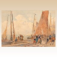 "HECTOR CAFFIERI (British, 1847 - 1932) - Original Signed Watercolor ""Boats Coming Home"""