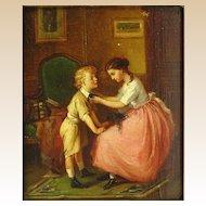 "FRANCOIS-LOUIS LANFANT DE MET (French, 1814-1892) ""The Good Sister"" Original Signed Oil Painting"