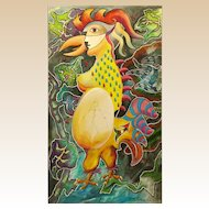 """PHILIP STANDISH READ (American 1927 - 2000) Huge Original Signed Oil On Canvas """"Chicken Or The Egg"""""""