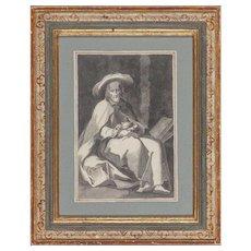 "18th Century French School ""Hermit Saint"" - Original Ink On Paper"