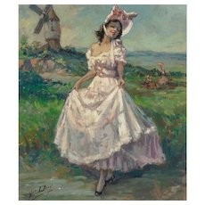 """YVES DIEY (French, 1892-1984) """"Lady in Pink"""" Original Signed Oil on Canvas"""