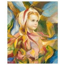 "FRANCISCO J.J.C. MASSERIA (Argentinian 1926 - 2002) -  Original Signed Impressionist Portrait Oil on Canvas - ""EMMA"""