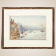 "THOMAS HALE-SANDERS (British 1880- 1906) Original Antique Watercolor, ""Early Morning, Whitby""  Signed and Dated 1898"