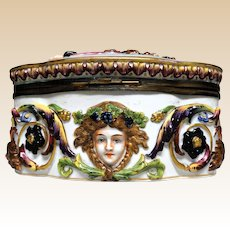CAPODIMONTE Lidded Table Casket With Classical Figures in High Relief