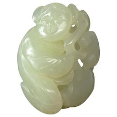 JADE - Carved Child With Lingzhi Toggle