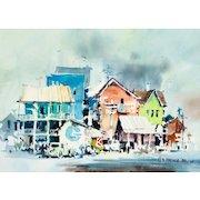 "HAROLD PHENIX  (American, 1928-2009) Original Signed/Dated Impressionist Watercolor ""Old Galveston"""