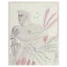 "ALEXANDRE (ALECOS) FASSIANOS (Greek, B. 1935) -Original Signed/Dated ""Le Pecheur"" -Internationally Acclaimed Artist"