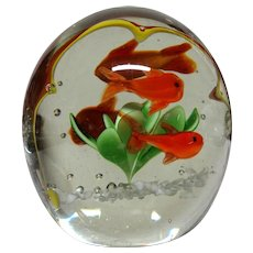"Unusual Art Glass Paperweight With An Interior ""Frame"" For the Four Fish and Plant"