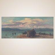 "AGOSTINO FOSSATI (Italian, 1830 - 1904) - ""Fishing Boats"" - Original Signed Oil Painting"